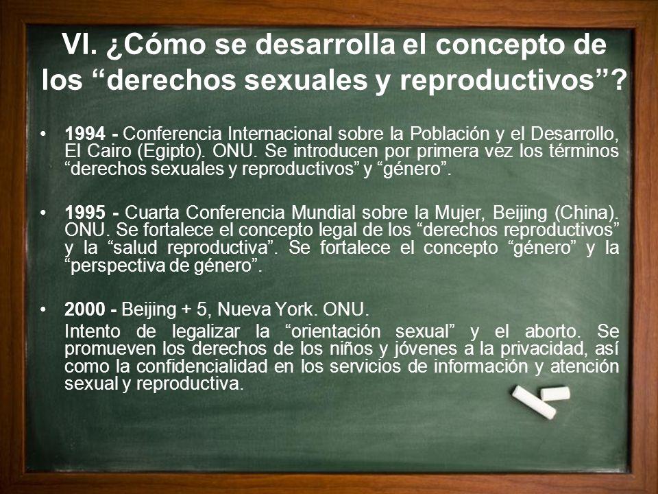 VI. ¿Cómo se desarrolla el concepto de los derechos sexuales y reproductivos