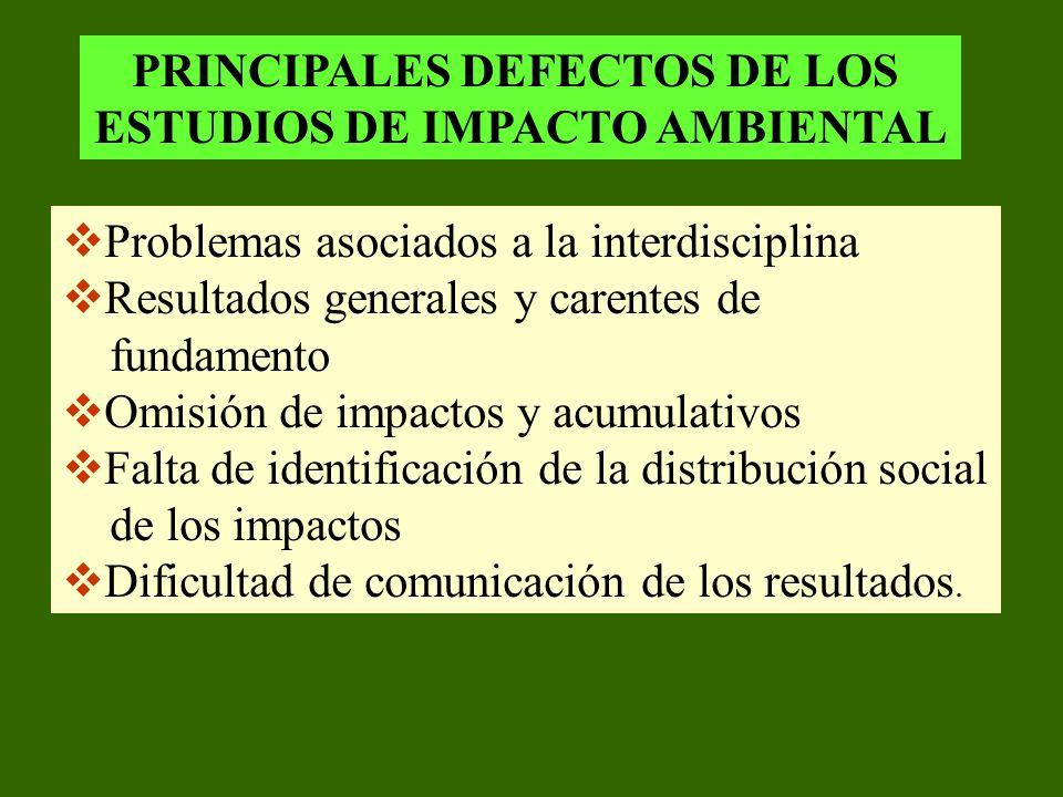 PRINCIPALES DEFECTOS DE LOS ESTUDIOS DE IMPACTO AMBIENTAL