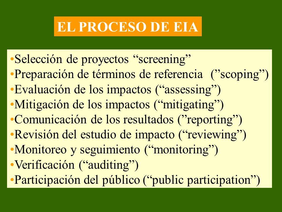 EL PROCESO DE EIA Selección de proyectos screening