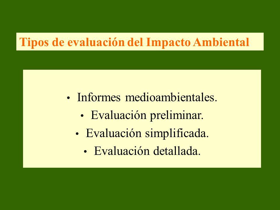 Tipos de evaluación del Impacto Ambiental
