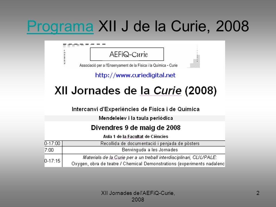 Programa XII J de la Curie, 2008