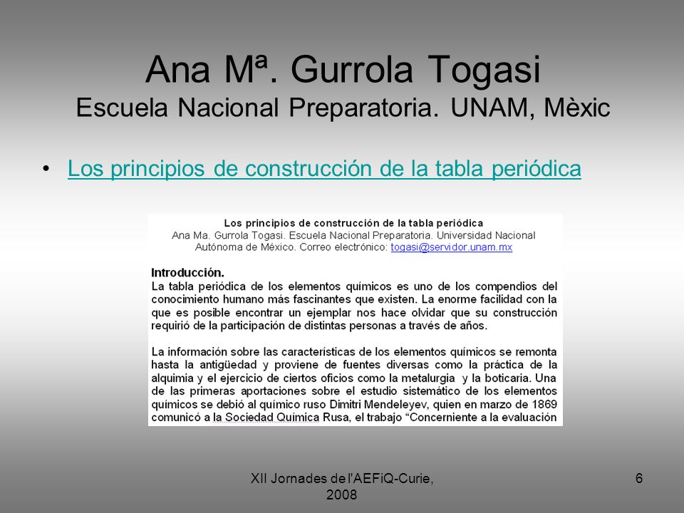 Ana Mª. Gurrola Togasi Escuela Nacional Preparatoria. UNAM, Mèxic