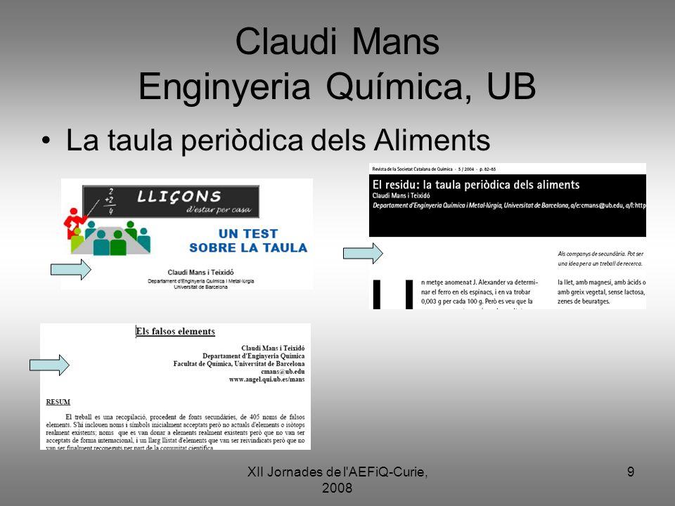 Claudi Mans Enginyeria Química, UB