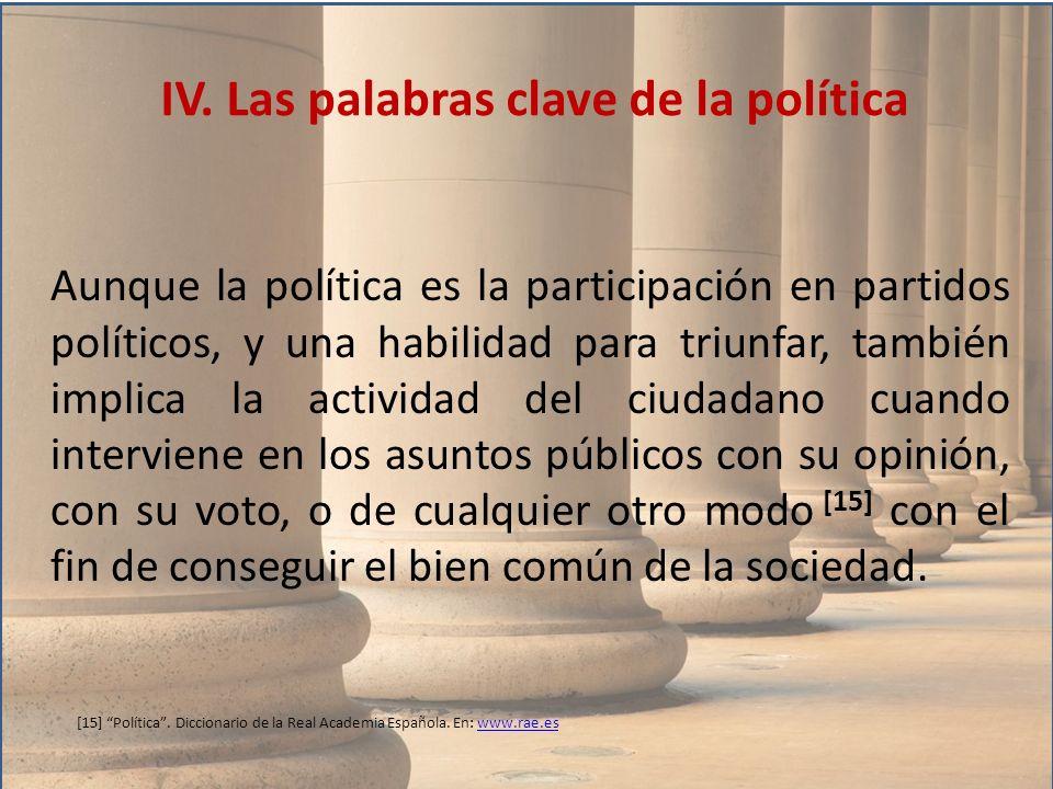 IV. Las palabras clave de la política