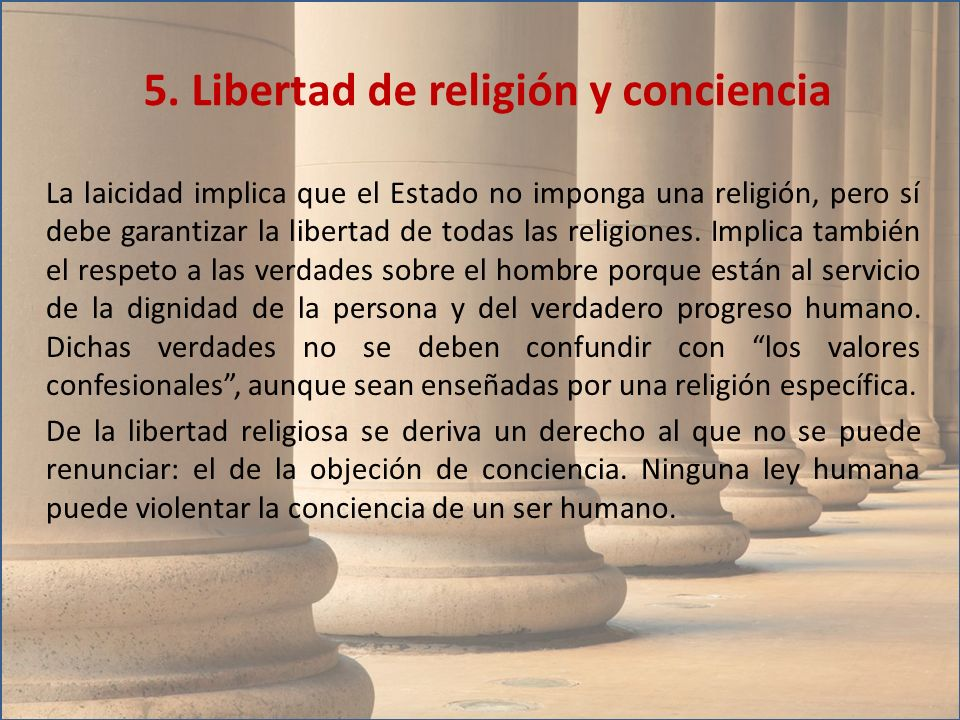 5. Libertad de religión y conciencia