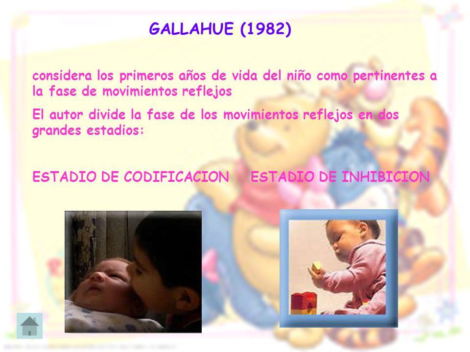 GALLAHUE (1982)considera los primeros años de vida del niño como pertinentes a la fase de movimientos reflejos.
