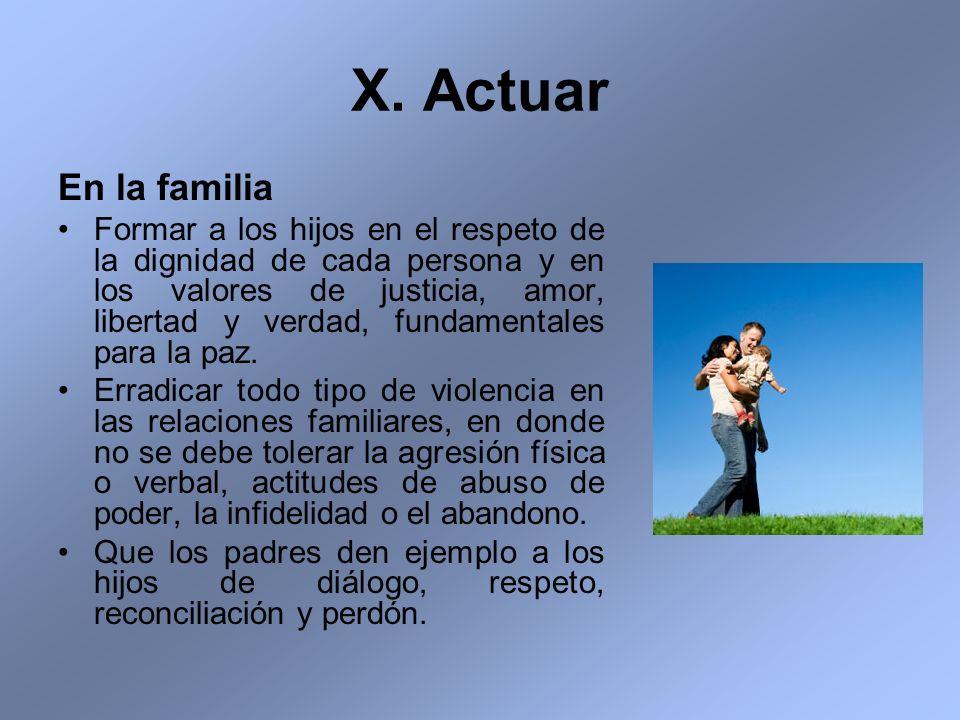 X. Actuar En la familia.