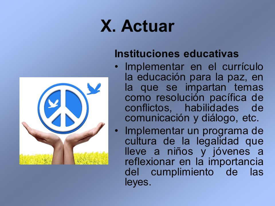 X. Actuar Instituciones educativas