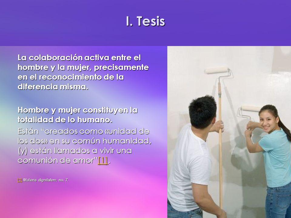 I. Tesis La colaboración activa entre el hombre y la mujer, precisamente en el reconocimiento de la diferencia misma.