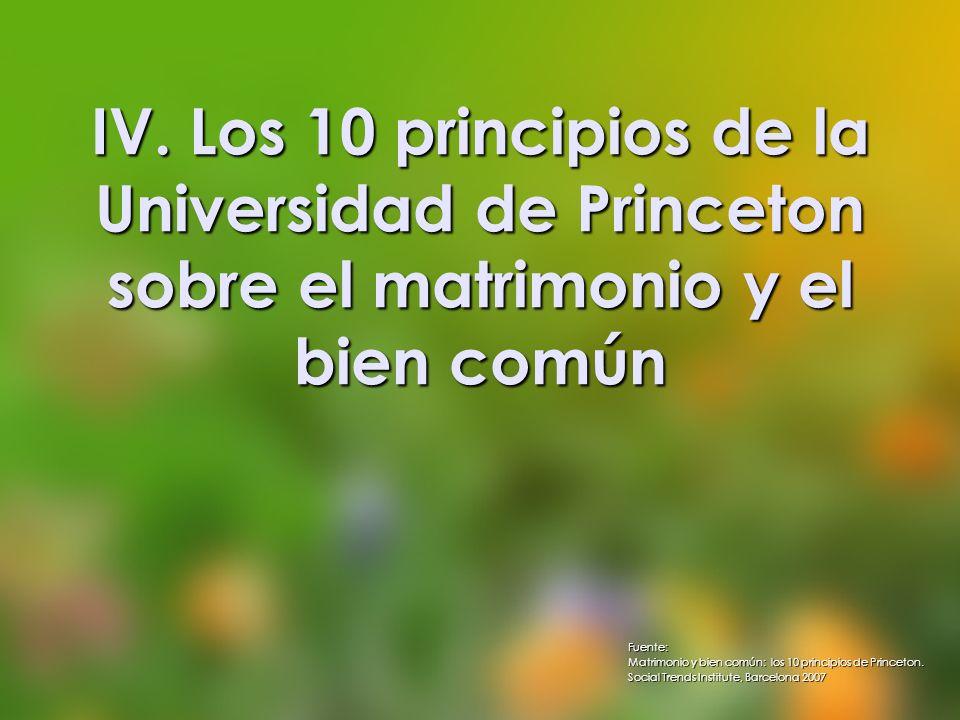 IV. Los 10 principios de la Universidad de Princeton sobre el matrimonio y el bien común