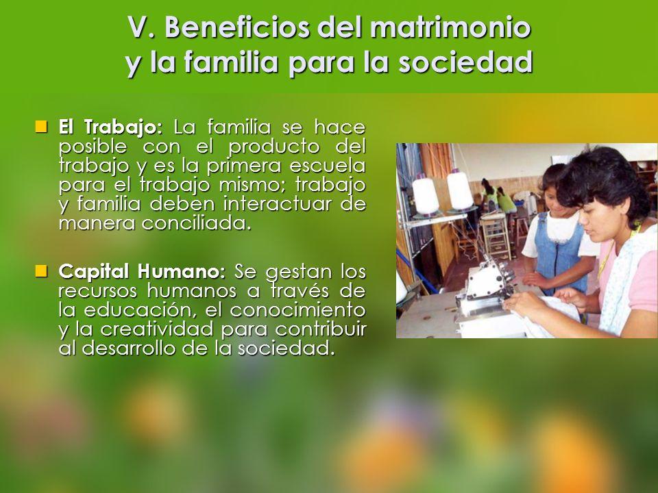 V. Beneficios del matrimonio y la familia para la sociedad