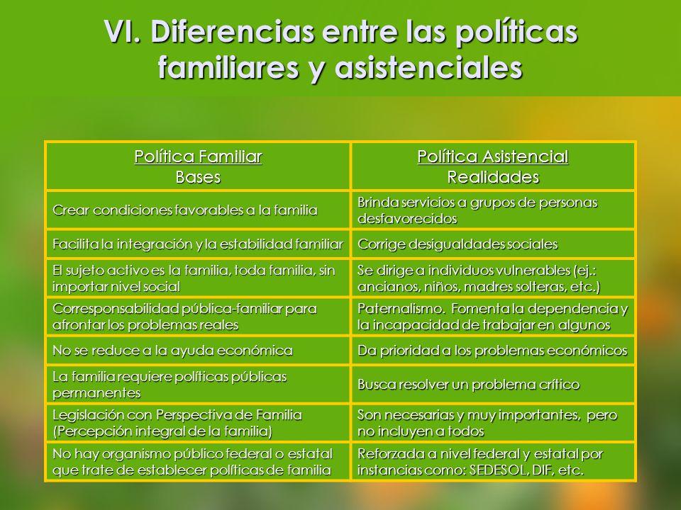 VI. Diferencias entre las políticas familiares y asistenciales