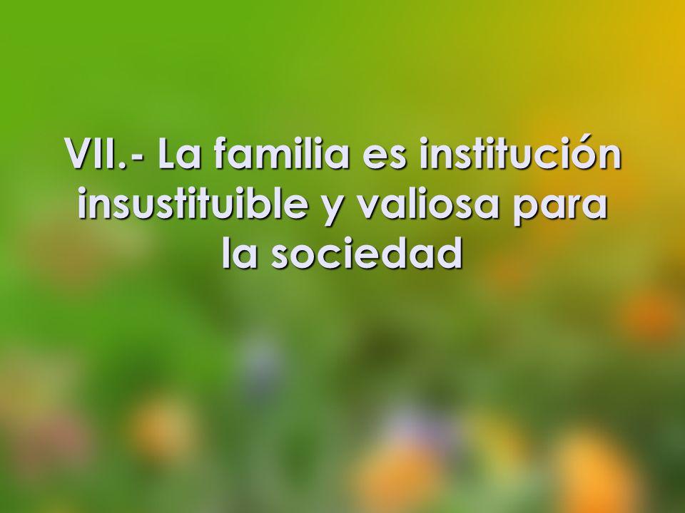 VII.- La familia es institución insustituible y valiosa para la sociedad