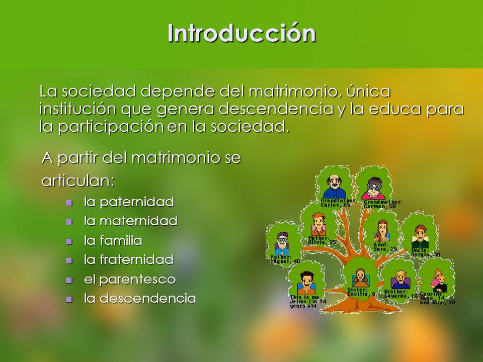 Introducción La sociedad depende del matrimonio, única institución que genera descendencia y la educa para la participación en la sociedad.