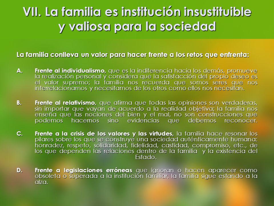 VII. La familia es institución insustituible y valiosa para la sociedad
