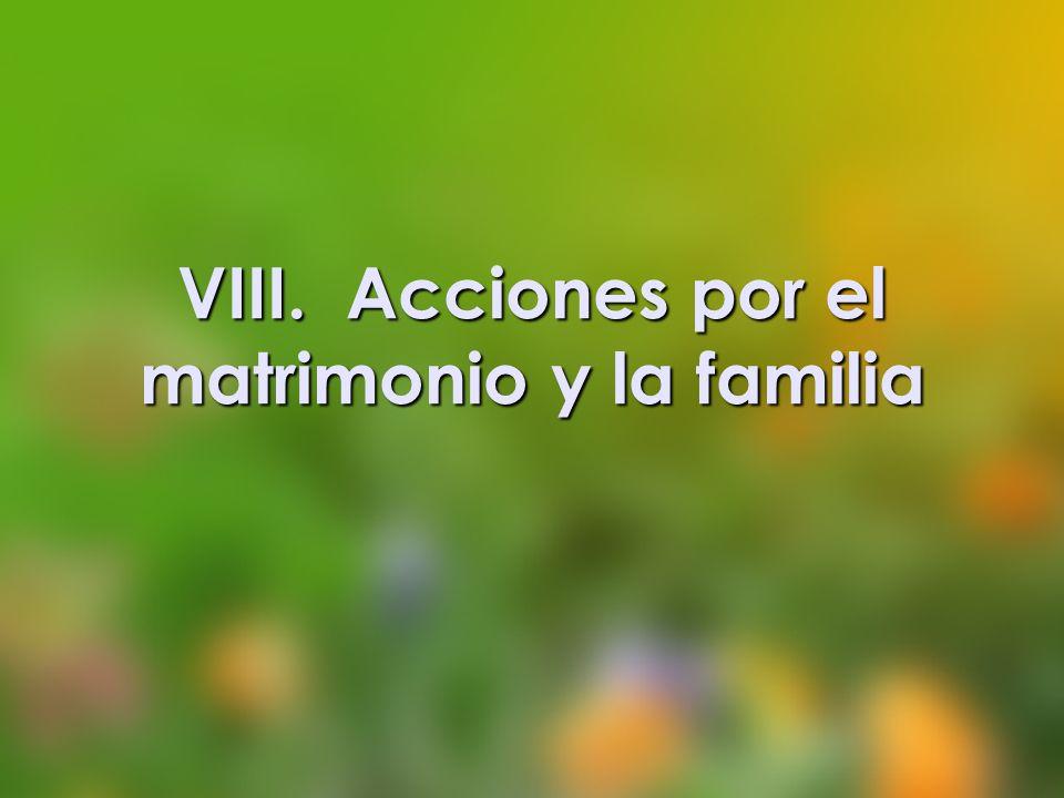 VIII. Acciones por el matrimonio y la familia