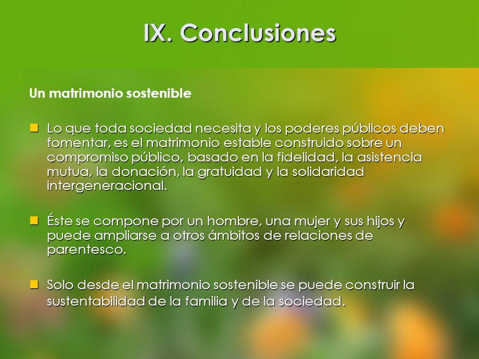 IX. Conclusiones Un matrimonio sostenible