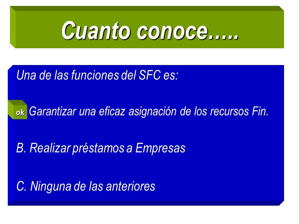 Cuanto conoce….. Una de las funciones del SFC es: