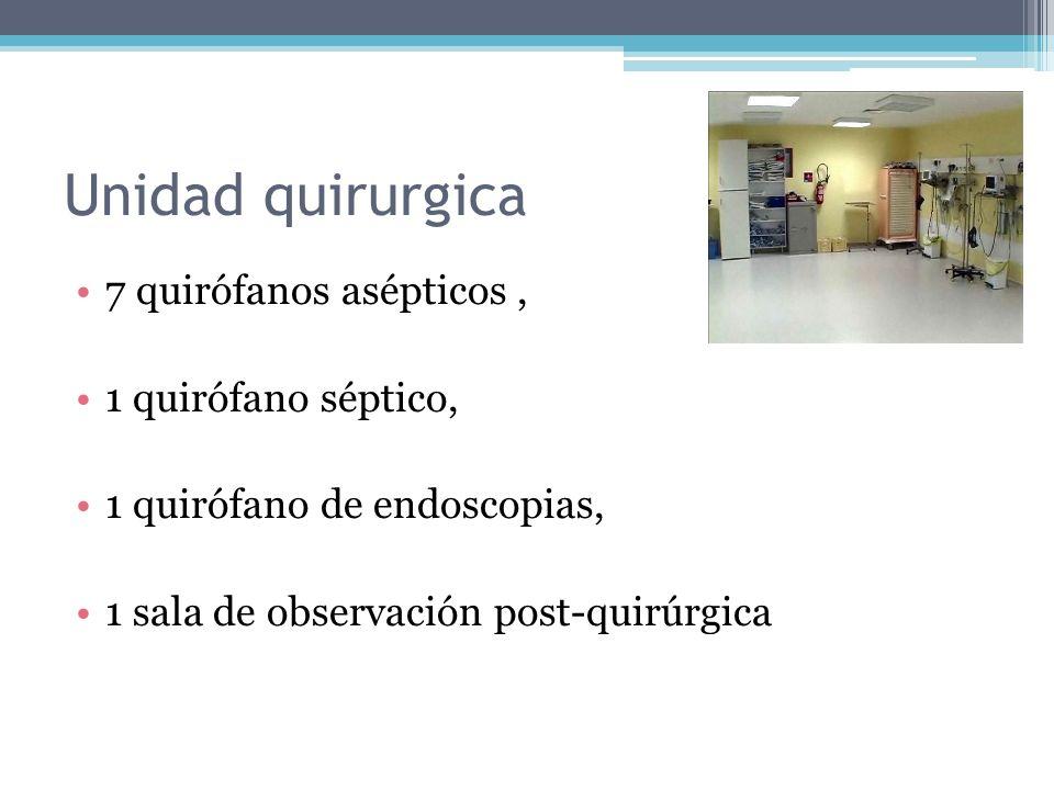 Unidad quirurgica 7 quirófanos asépticos , 1 quirófano séptico,