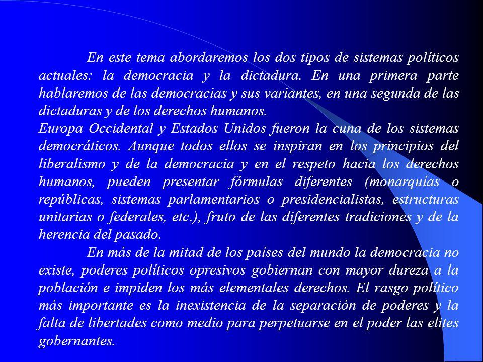 En este tema abordaremos los dos tipos de sistemas políticos actuales: la democracia y la dictadura. En una primera parte hablaremos de las democracias y sus variantes, en una segunda de las dictaduras y de los derechos humanos.