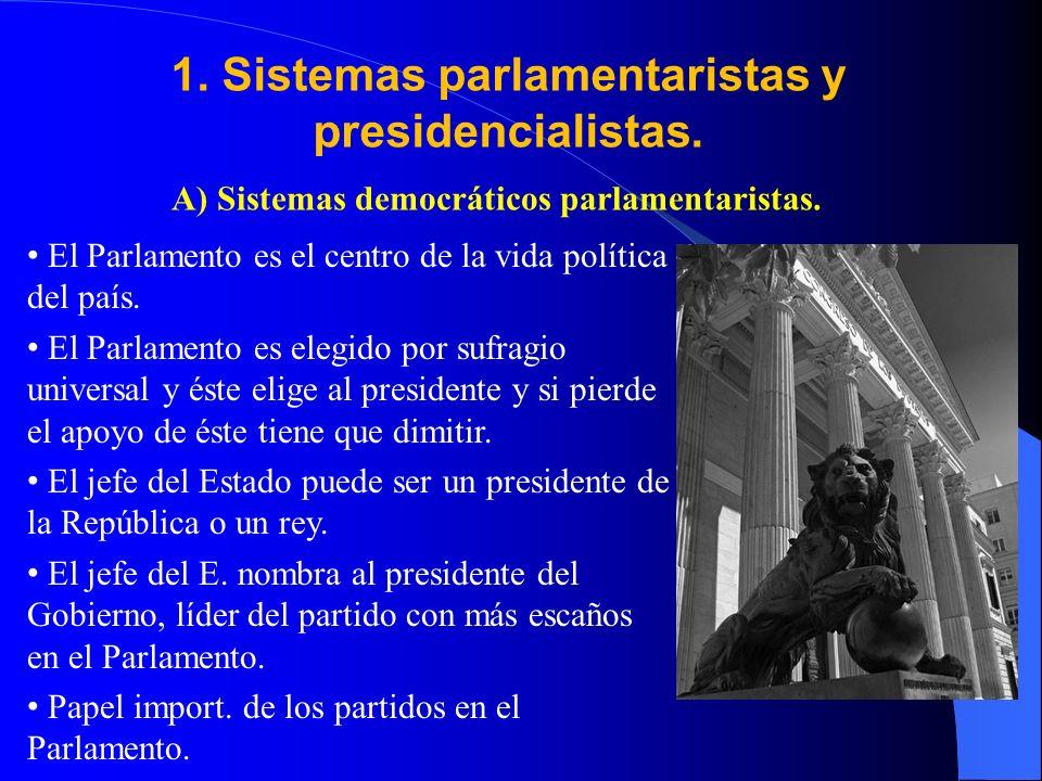 1. Sistemas parlamentaristas y presidencialistas.