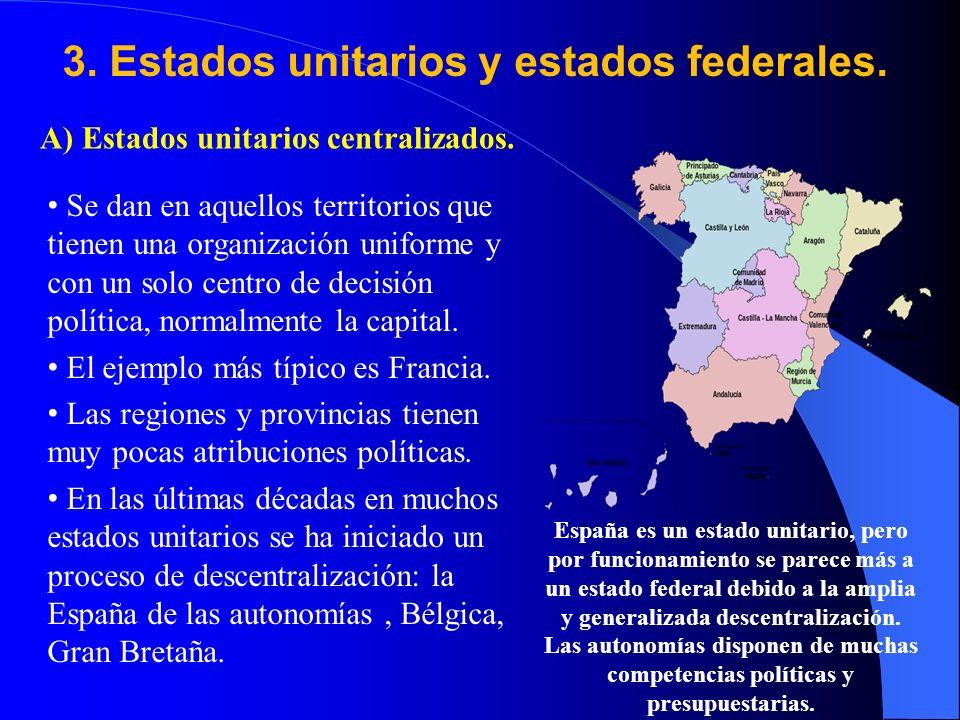 3. Estados unitarios y estados federales.
