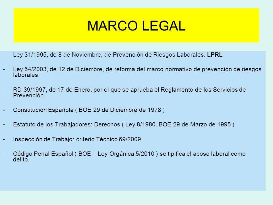 MARCO LEGALLey 31/1995, de 8 de Noviembre, de Prevención de Riesgos Laborales. LPRL.