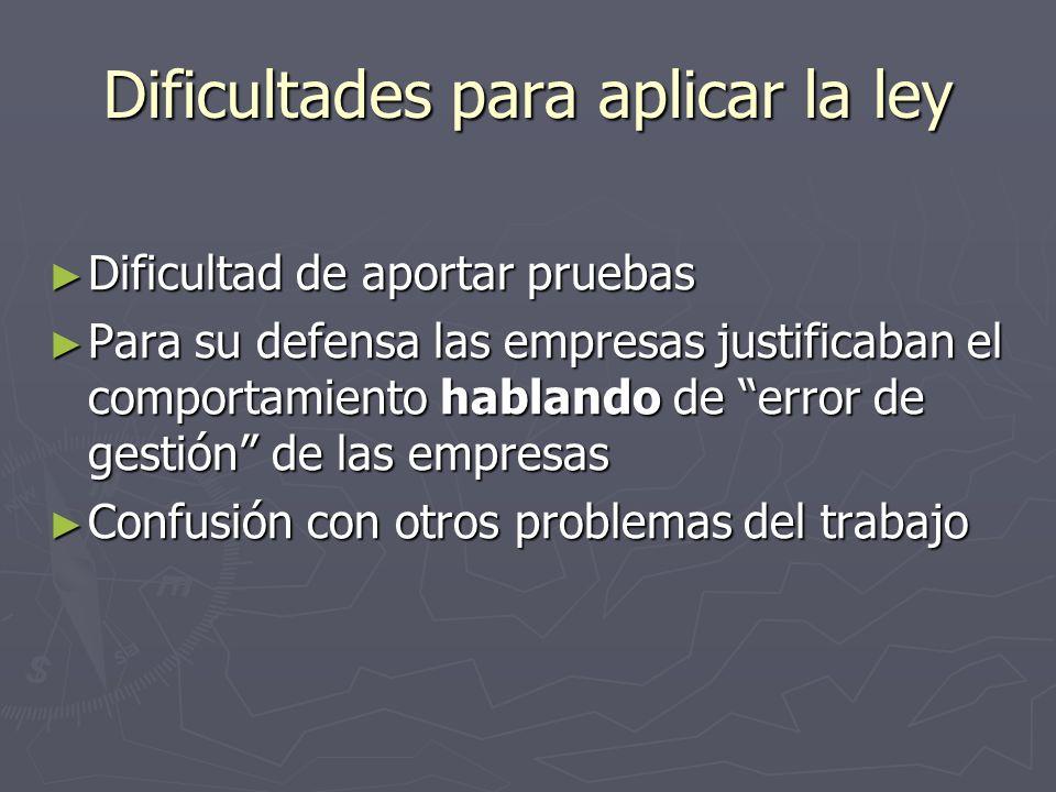 Dificultades para aplicar la ley