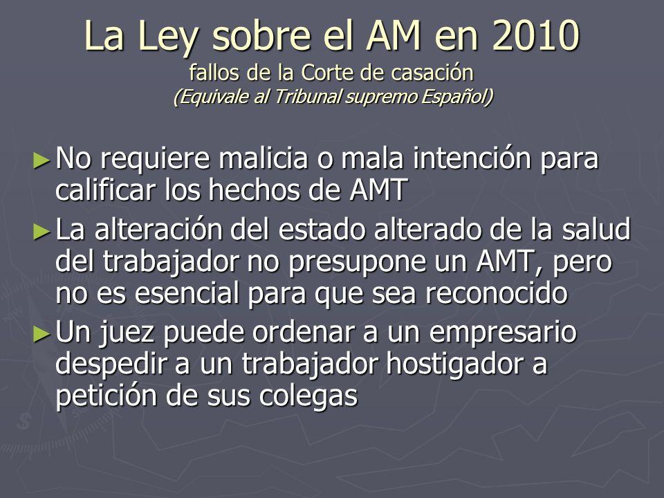 La Ley sobre el AM en 2010 fallos de la Corte de casación (Equivale al Tribunal supremo Español)
