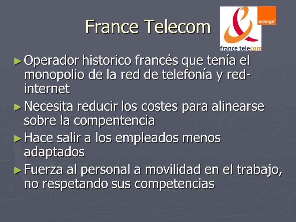France Telecom Operador historico francés que tenía el monopolio de la red de telefonía y red-internet.