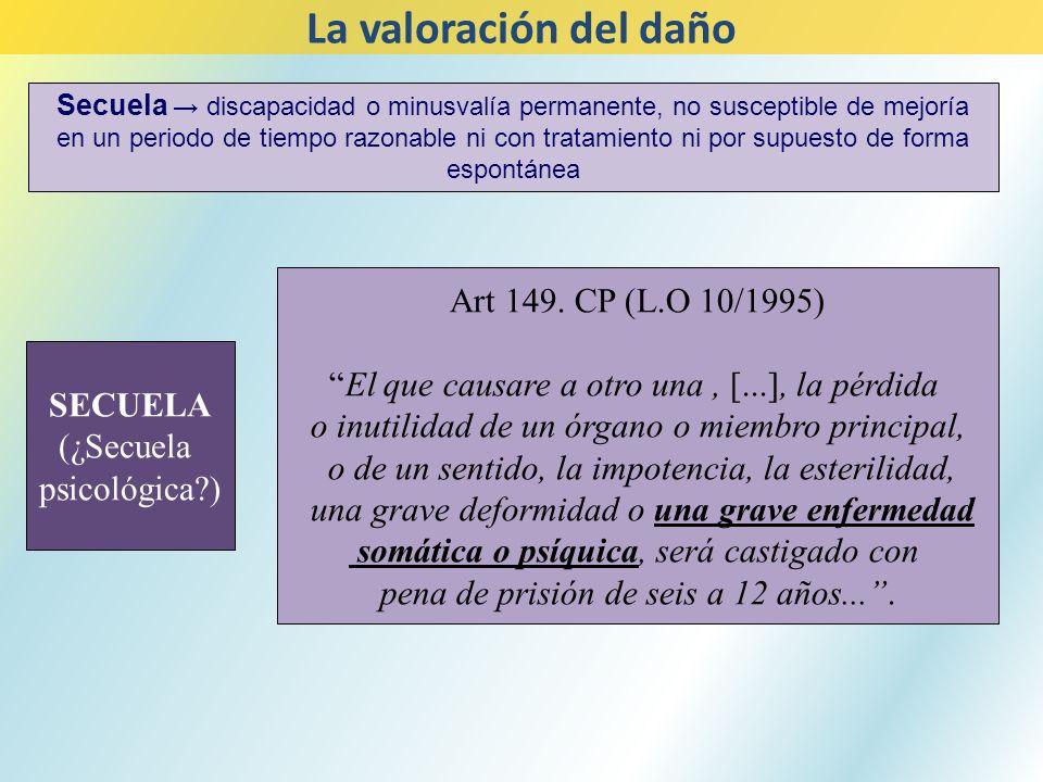La valoración del daño Art 149. CP (L.O 10/1995)