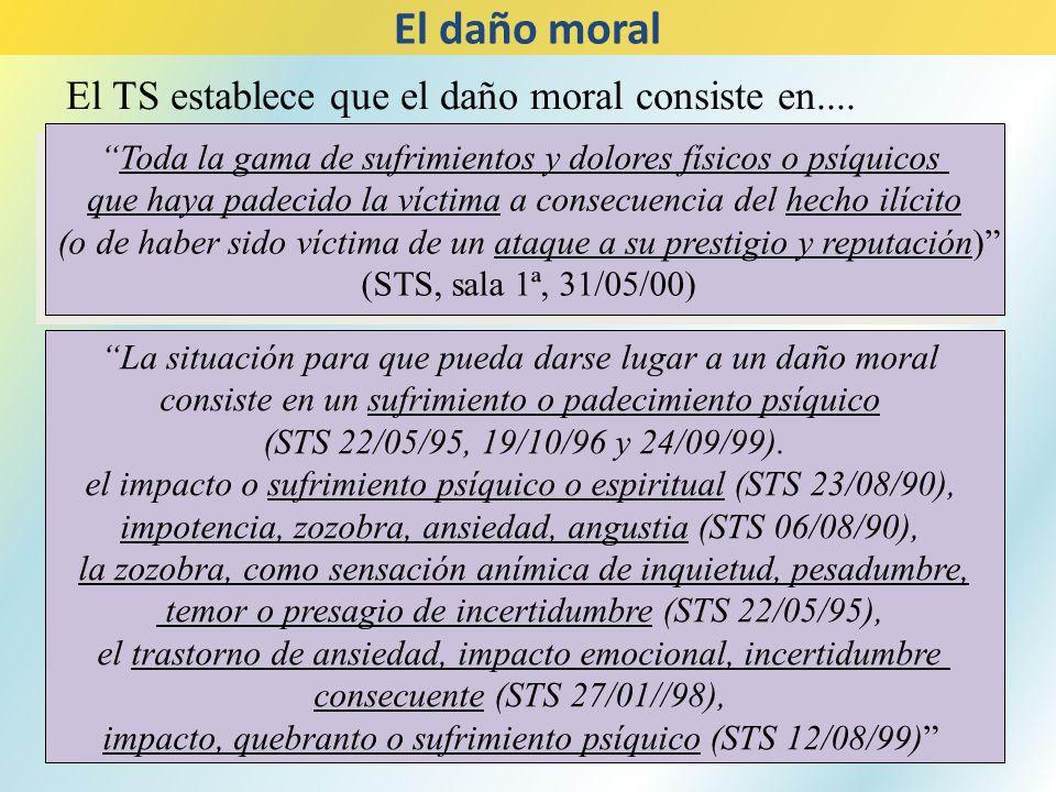 El daño moral El TS establece que el daño moral consiste en....