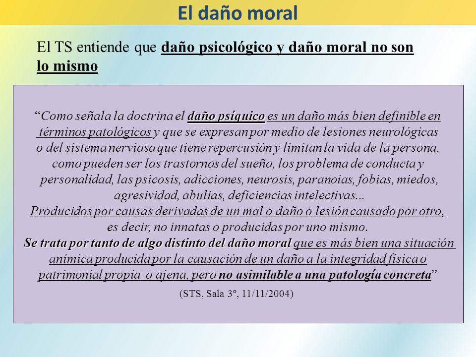 El daño moral El TS entiende que daño psicológico y daño moral no son lo mismo.