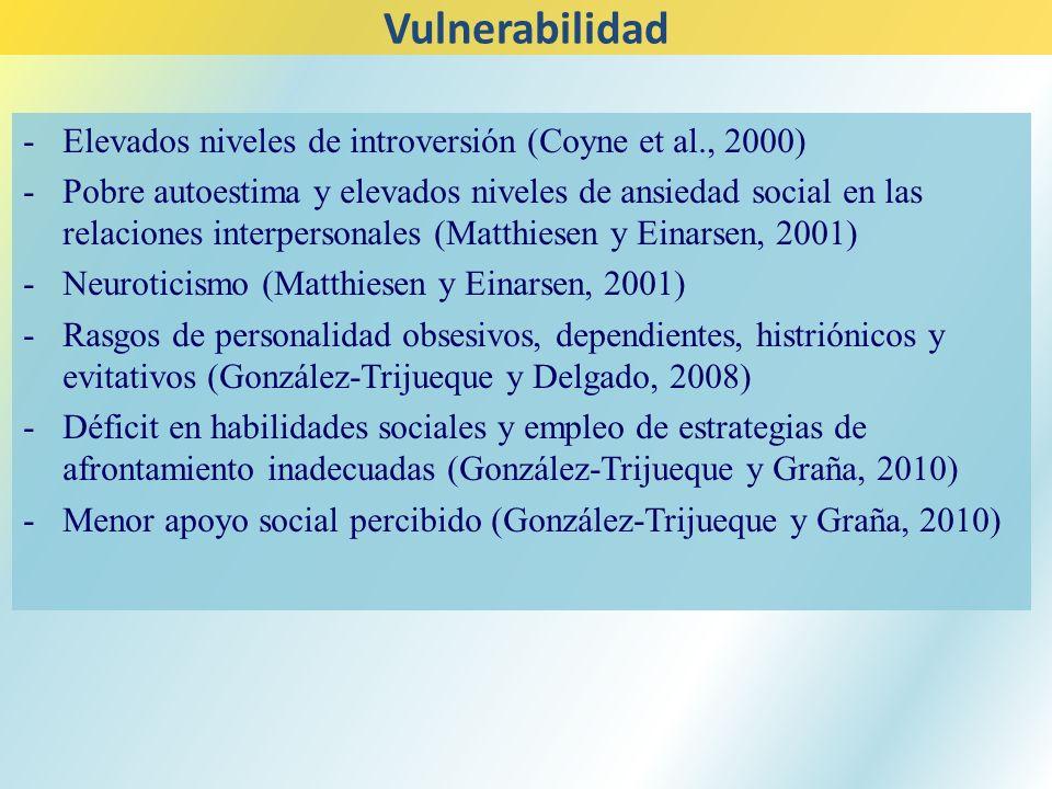 Vulnerabilidad Elevados niveles de introversión (Coyne et al., 2000)