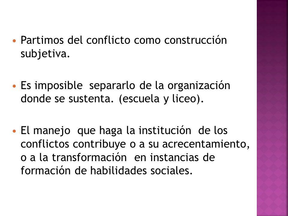 Partimos del conflicto como construcción subjetiva.