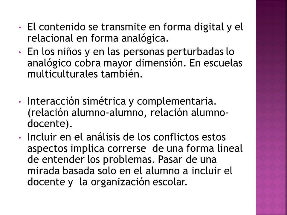 El contenido se transmite en forma digital y el relacional en forma analógica.