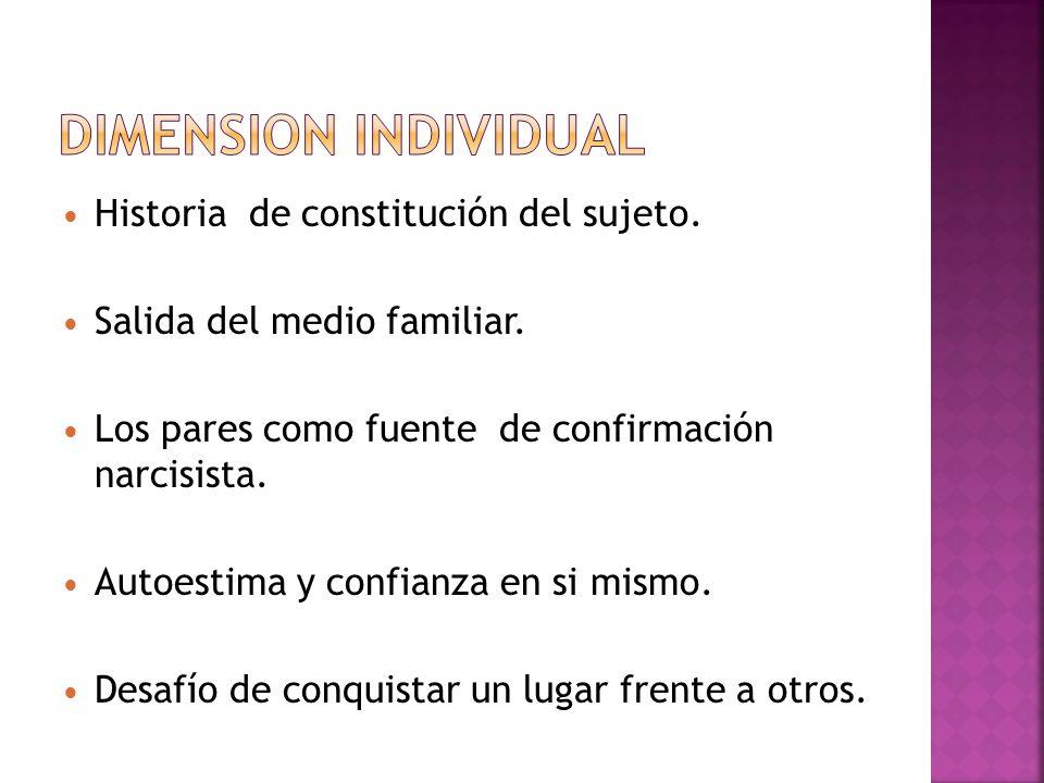DIMENSION INDIVIDUAL Historia de constitución del sujeto.