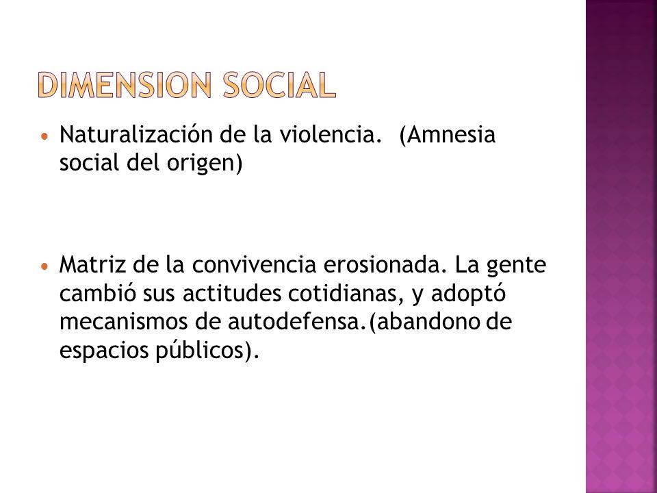 DIMENSION SOCIAL Naturalización de la violencia. (Amnesia social del origen)