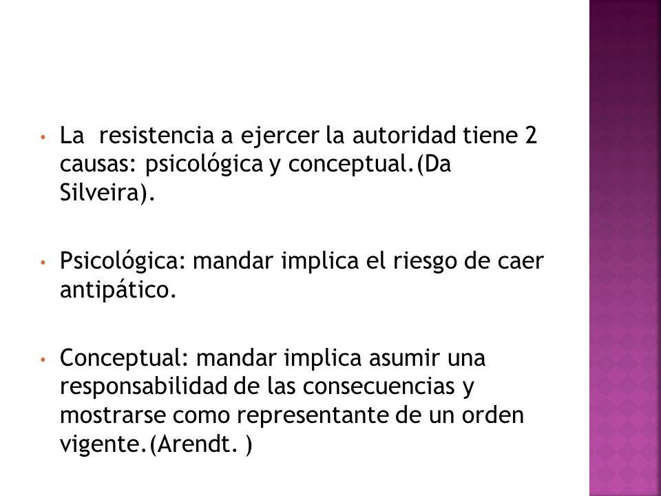 La resistencia a ejercer la autoridad tiene 2 causas: psicológica y conceptual.(Da Silveira).