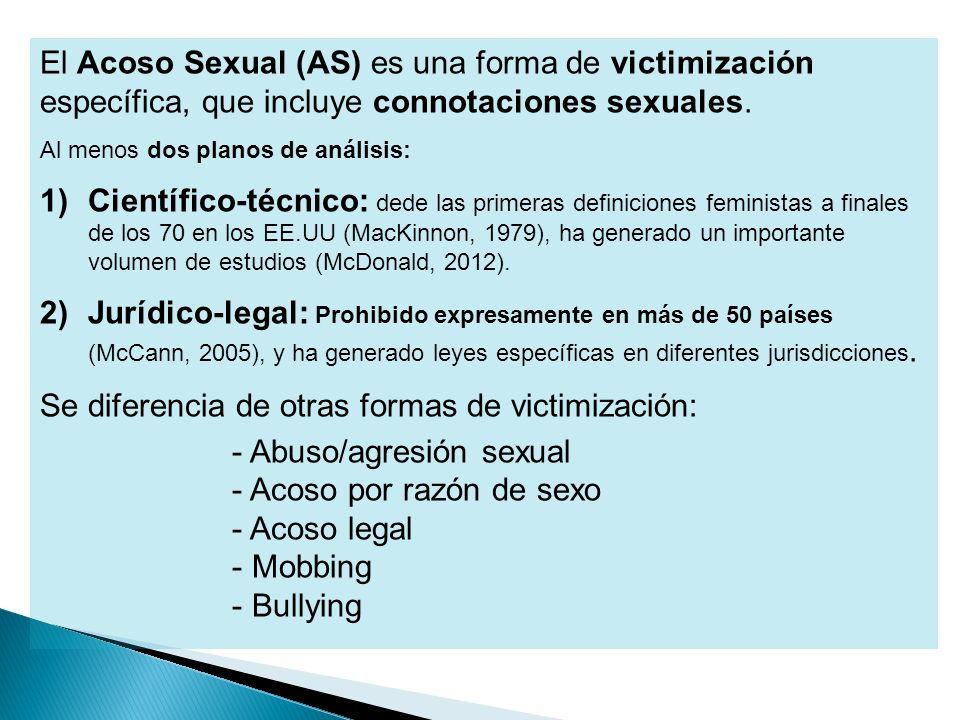 Se diferencia de otras formas de victimización: Abuso/agresión sexual