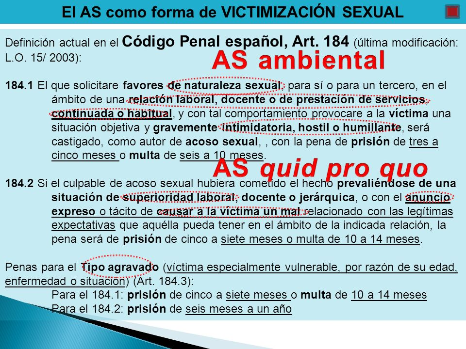 El AS como forma de VICTIMIZACIÓN SEXUAL