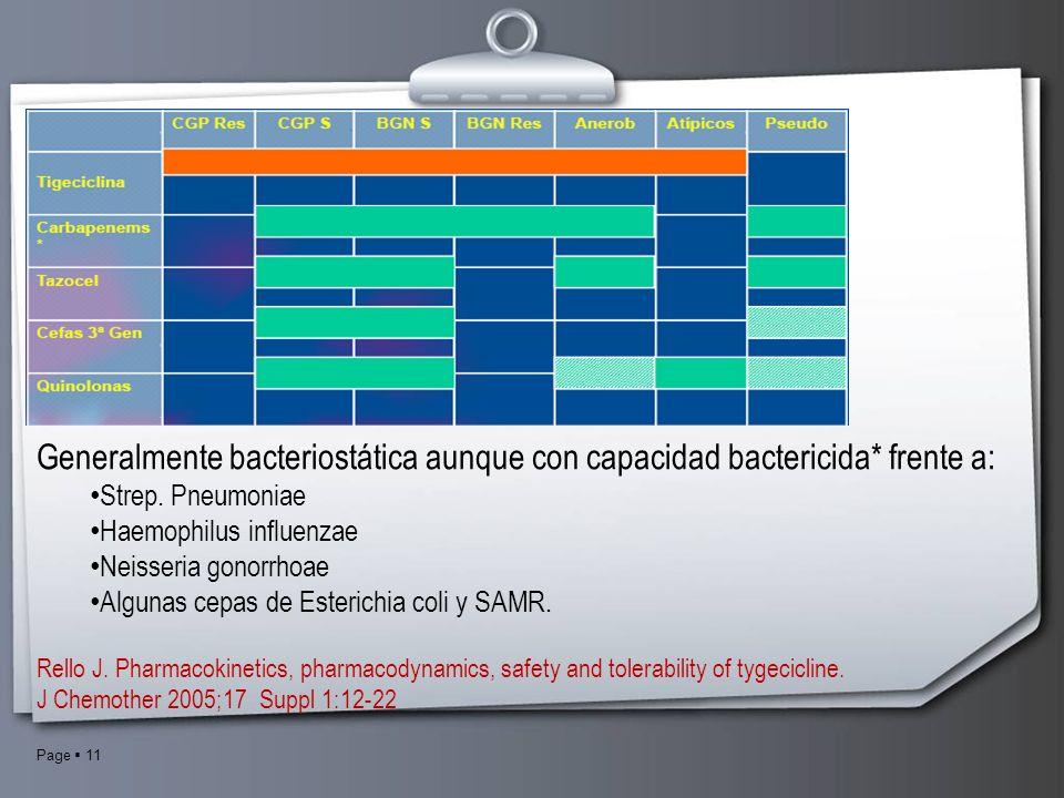Generalmente bacteriostática aunque con capacidad bactericida