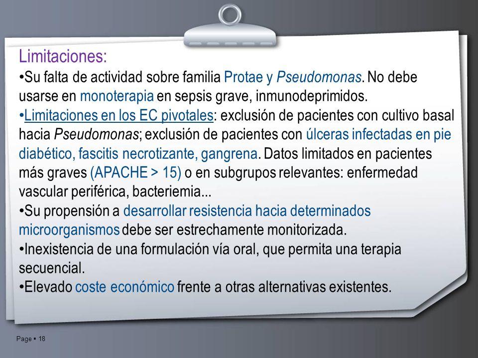 Limitaciones: Su falta de actividad sobre familia Protae y Pseudomonas. No debe usarse en monoterapia en sepsis grave, inmunodeprimidos.