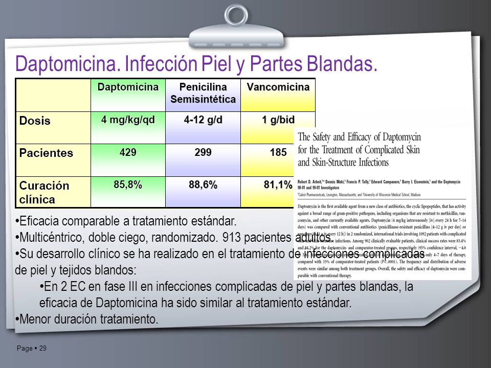 Daptomicina. Infección Piel y Partes Blandas.