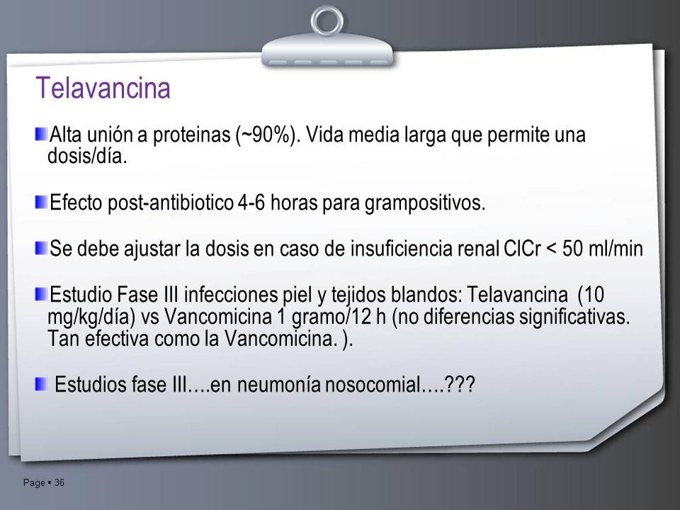 Telavancina Alta unión a proteinas (~90%). Vida media larga que permite una dosis/día. Efecto post-antibiotico 4-6 horas para grampositivos.