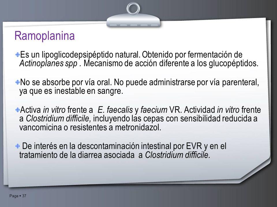 RamoplaninaEs un lipoglicodepsipéptido natural. Obtenido por fermentación de Actinoplanes spp . Mecanismo de acción diferente a los glucopéptidos.