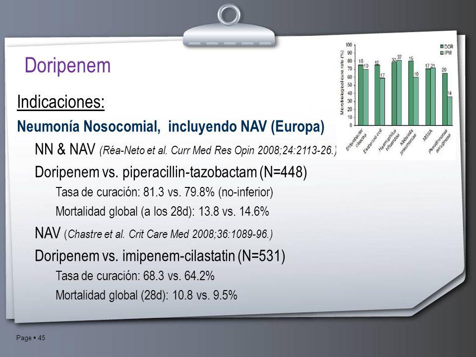 Doripenem Indicaciones: Neumonía Nosocomial, incluyendo NAV (Europa)