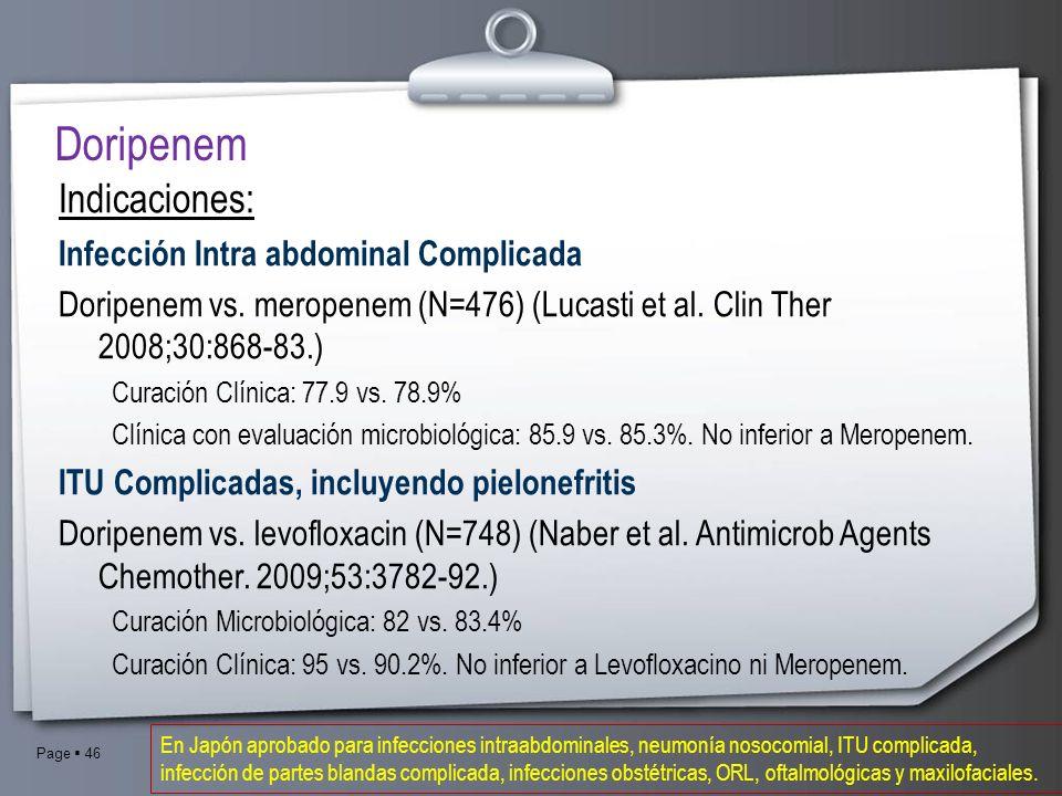 Doripenem Indicaciones: Infección Intra abdominal Complicada