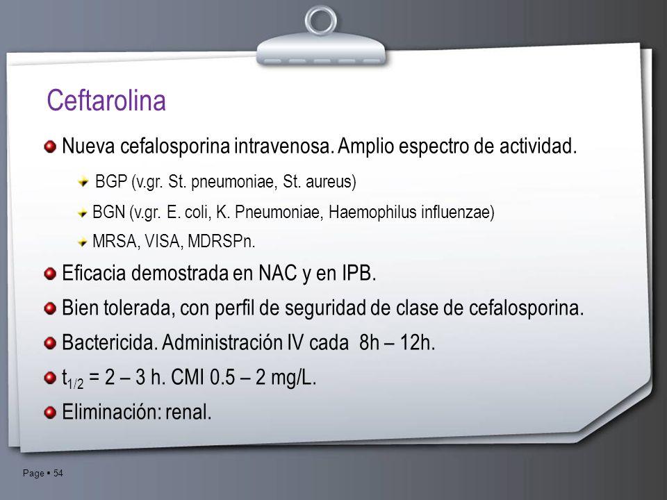 Ceftarolina Nueva cefalosporina intravenosa. Amplio espectro de actividad. BGP (v.gr. St. pneumoniae, St. aureus)