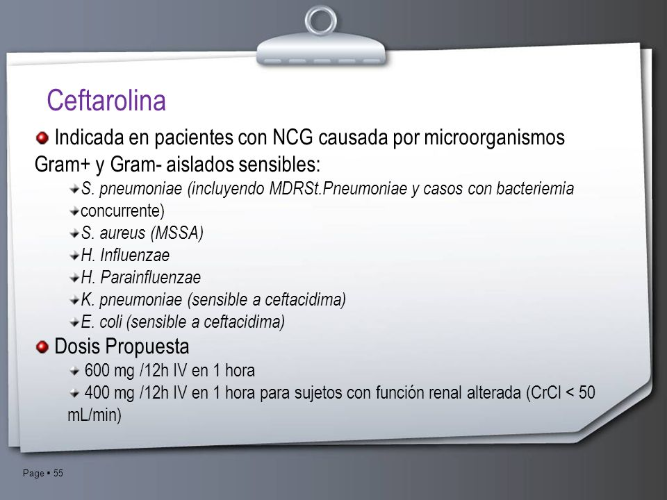 CeftarolinaIndicada en pacientes con NCG causada por microorganismos Gram+ y Gram- aislados sensibles: